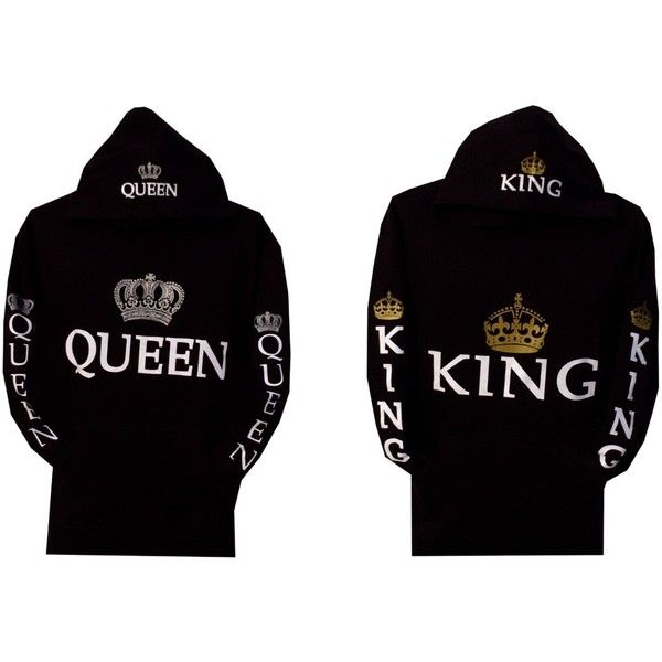 Amazon.com: Couple Matching King and Queen Hoodie Color Black Hooded... (£36) ❤ liked on Polyvore featuring tops, hoodies, hooded sweatshirt, black crop top, sweat shirts, black sweatshirt and pullover hooded sweatshirt