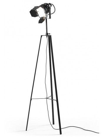 Una struttura a forma di cavalletto che serve come un piede per una lampada con un tipo di proiettore estetico. Si può avere a casa questa lampada che ricorda il periodo d'oro del cinema.