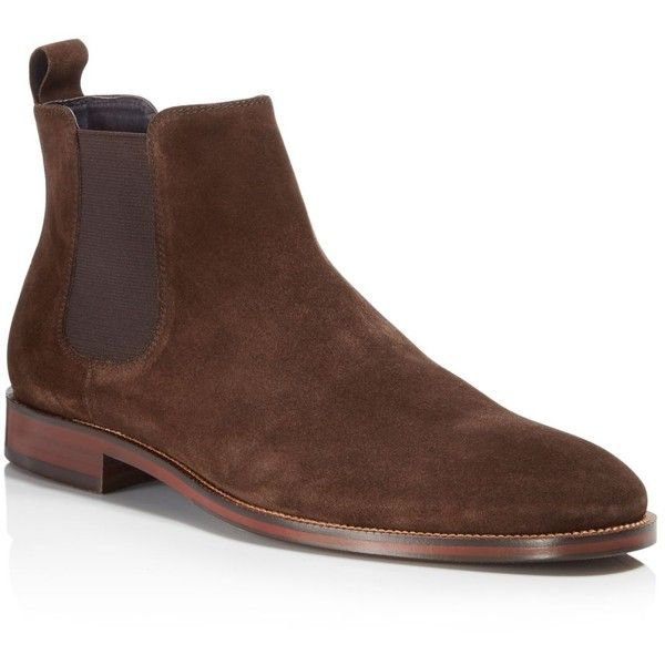 The Men's Store at Bloomingdale's Men's Suede Chelsea Boots - 100%... ($199) ❤ liked on Polyvore featuring men's fashion, men's shoes, men's boots, brown, mens boots, mens brown chelsea boots, mens brown suede boots, mens suede chelsea boots and mens suede shoes