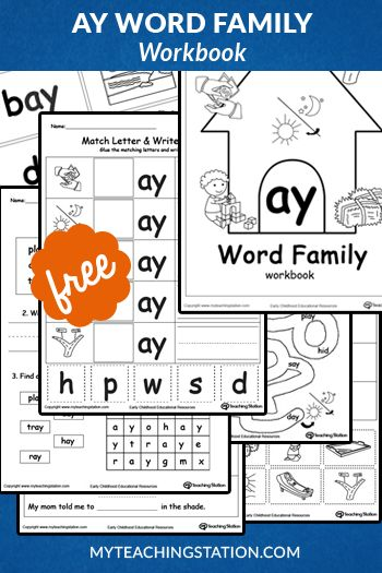AY Word Family Workbook for Children in Kindergarten