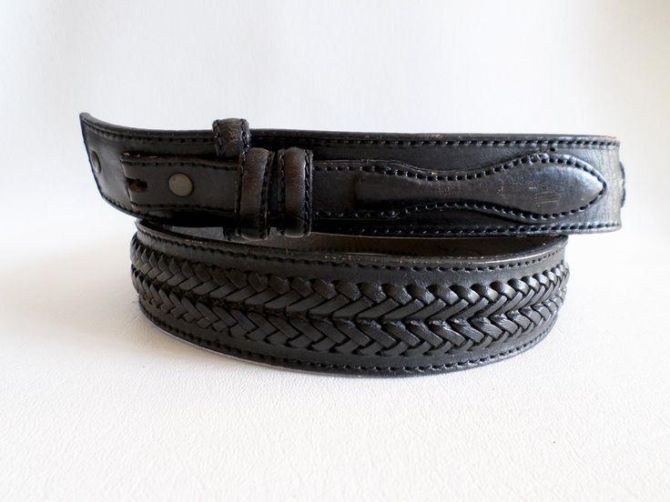Size 36 91cm Snap On Black Leather Belt Strap, Leegin Laced Ranger Belt with Billets, Boho Southwestern Country Western Wear, ID 467421606 by LaBelleBelts on Etsy