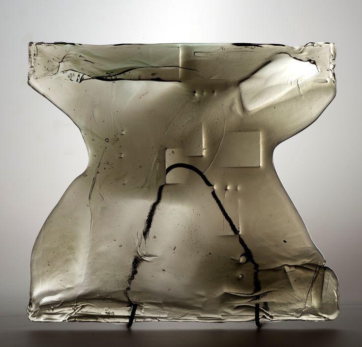 Lubomir Blecha, the glass relief, 1969, glassworks Borske Sklo, Novy Bor (Haida), M: 40,0 x 43,5 cm, Czechoslovakia