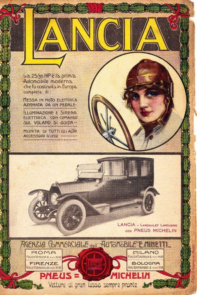 PUBB.1915 LANCIA 25/35HP LANDAULET LIMOUSINE E.MINETTI DONNA AUTO MODERNA LUSSO