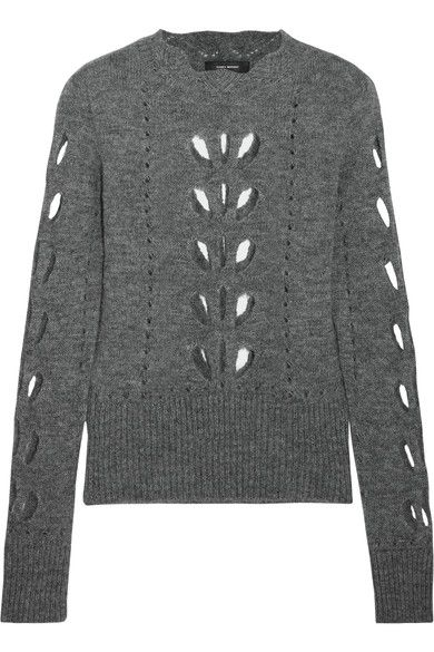 Gray pointelle-knit Slips on 36% acrylic, 28% polyamide, 18% alpaca, 18% mohair Dry clean Made in Italy