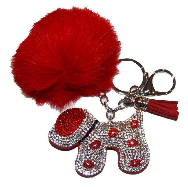 Schlüsselanhänger, Taschenanhänger aus künstlichem Kaninchenfell, mit Strassanhänger, Hund, rot