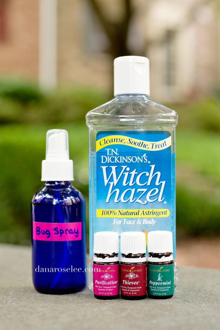 Bug Spray Recipe -  5 drops each of Thieves, Purification, and Peppermint, 2 oz each of distilled water and witch hazel.