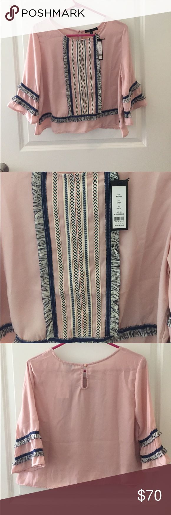 """NWT Romeo and Juliet Couture fringe blouse, M NWT Romeo and Juliet couture 3/4 length sleeve blouse in """"blush"""" with navy and cream stitching and fringe. Size medium. Slight crop-top fit. Perfect with skinny jeans for the fall! Romeo & Juliet Couture Tops Blouses"""