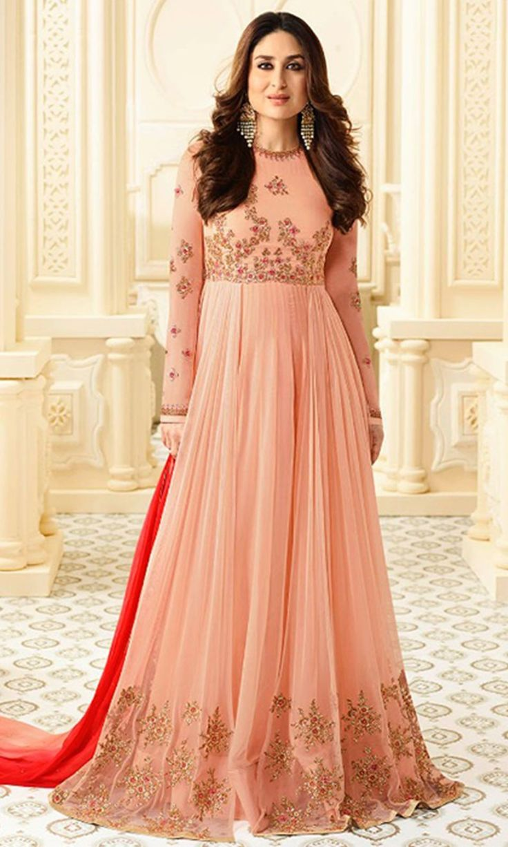 Buy online  #Peach Heavy  #Embroidered Floor Touch  #Suit (SKU Code : SUEBRVF6182) at Ishimaya Fashion.