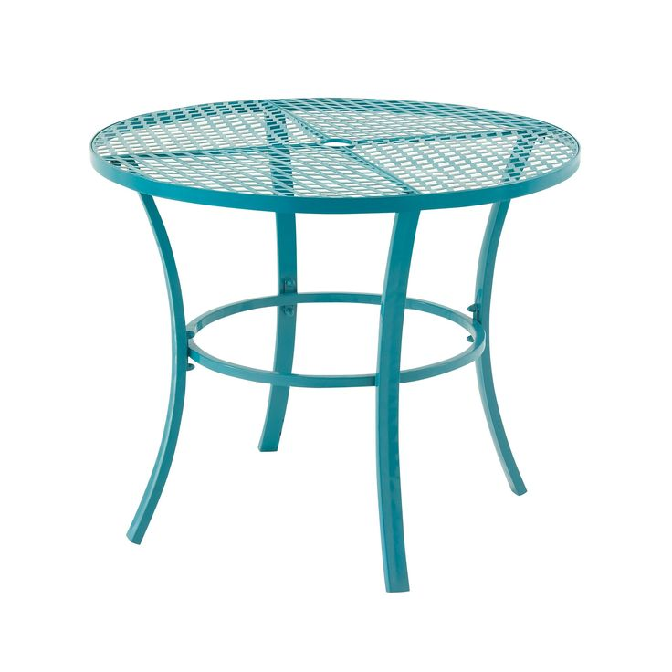 attractive metal round outdoor table blue patio furniture iron