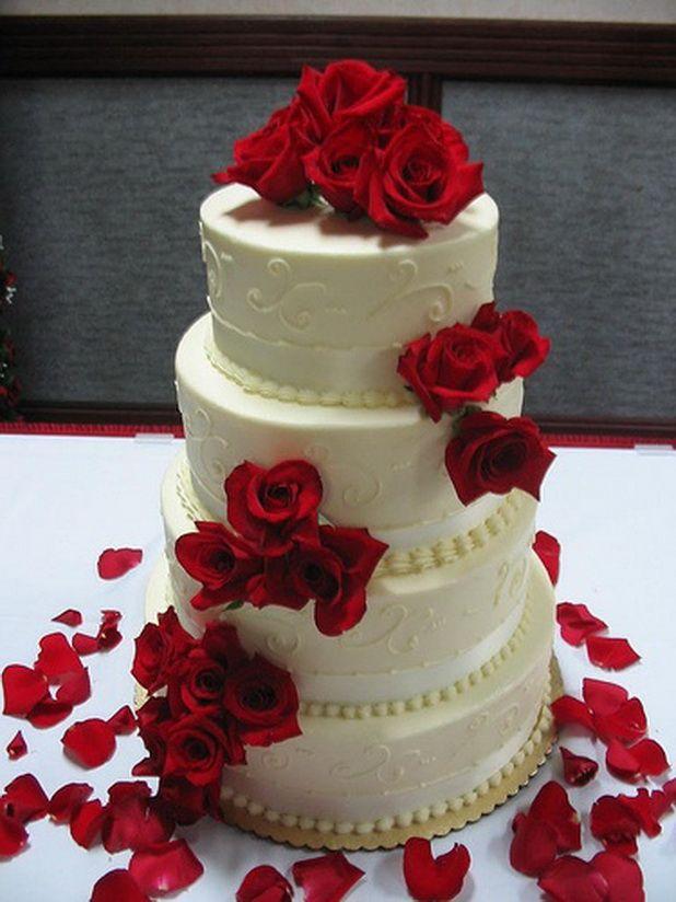 Red U0026 White Wedding Cakes