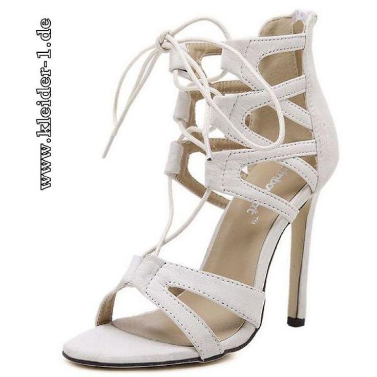 Lace Up Stiletto Sandaletten in Weiß
