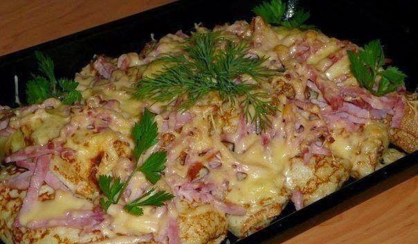 шеф-повар Одноклассники: Фаршированные блины, запеченные под сыром