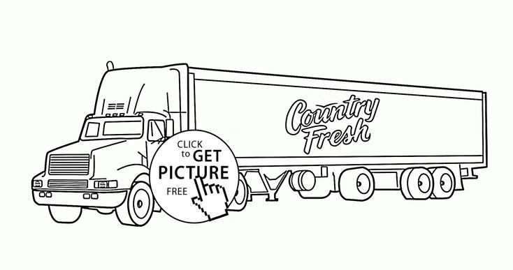 Semi Truck Trailer coloring page for kids, transportation
