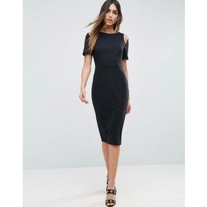 ASOS Midi Pencil Dress With Cut Out Shoulders