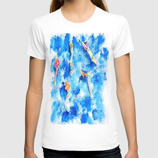 "American Apparel Fine Jersey T-shirts are made with 100% fine jersey cotton combed for softness and comfort.   ABOUT THE ART free, spirit, kites, Aegean Sky, hand made, painting, by Elisavet, when she was five years old! Also... We want to thank you Society6 We're excited! to let us know that our Print ""FREE SPiRiT KiTES"" has been selected to be included in the Society6 Shop!!!!"