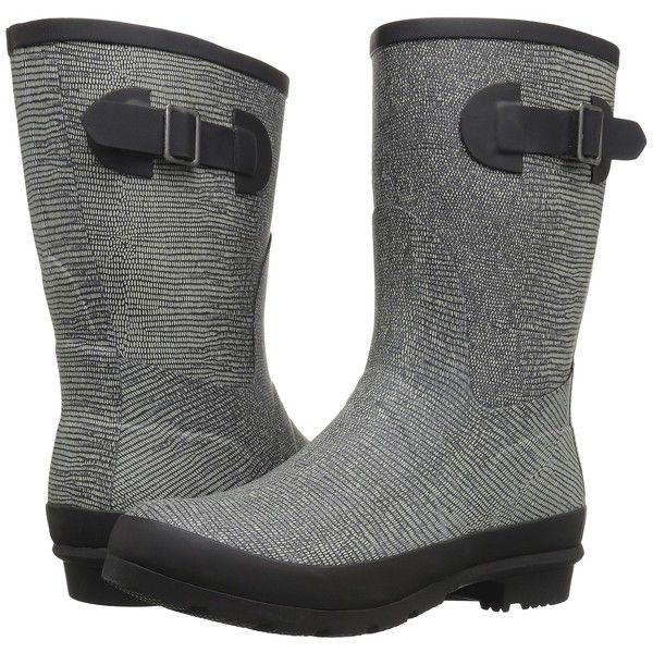 Aerosoles Rain Date (Black Exotic) Women's Rain Boots ($56) ❤ liked on Polyvore featuring shoes, boots, ankle boots, black, bootie boots, wellington boots, black boots, black buckle boots and black wellington boots