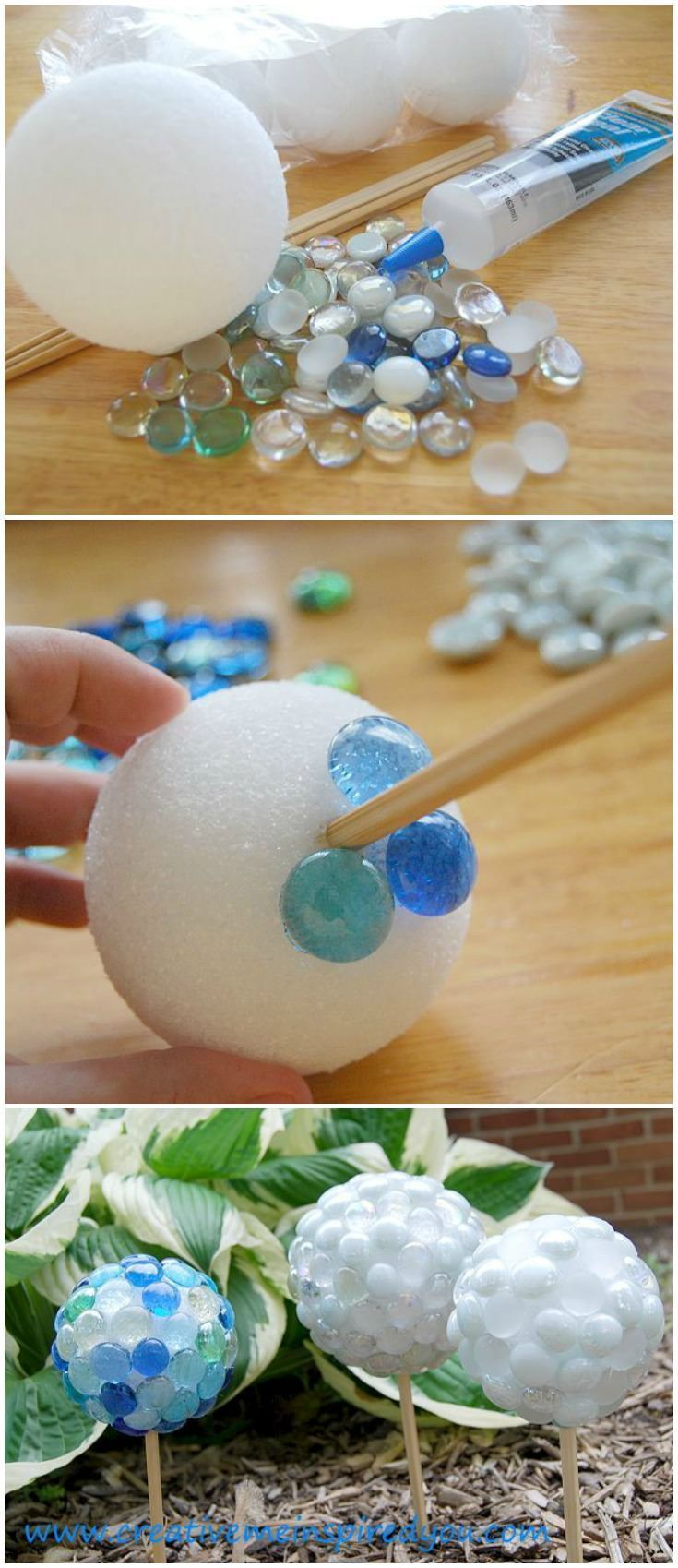 Create beautiful garden gazing stones from dollar store finds. Use glass marbles, Styrofoam balls, chop sticks and silicone to create lovely focal points for your garden.