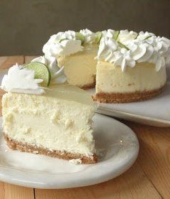 Key Lime Cheesecake Copy Cat Cheese Cake Factory ~ Says: The cheesecake tastes perfect. It's creamy, but not wet; tart, but not sour. It's a good key lime cheesecake with a lemon glaze topping.