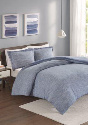 Urban Habitat  Space Dyed Melange Cotton Jersey Knit Comforter Set - Blue - California King