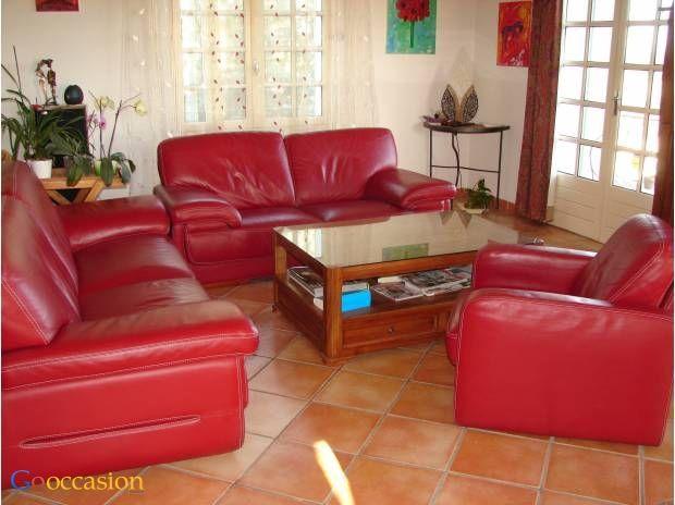 Salon en cuir rouge - http://www.go-occasion.fr/salon-en-cuir-rouge/