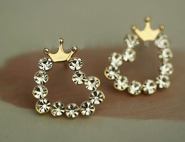 Crowned Shiny Hearts Earrings