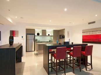 Modern dining room idea with floorboards & bar/wine bar - Dining Room Photo 326137