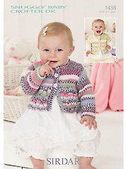 Knit - Sirdar Snuggly Baby Crofter DK 1438: Short & Long Sleeve Cardigans Knit Patterns - #707306