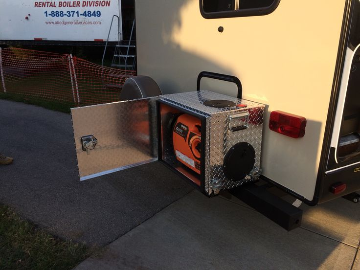 Generator Boxes for Travel Trailers, campers, rv.  Single box installed on a travel trailer.