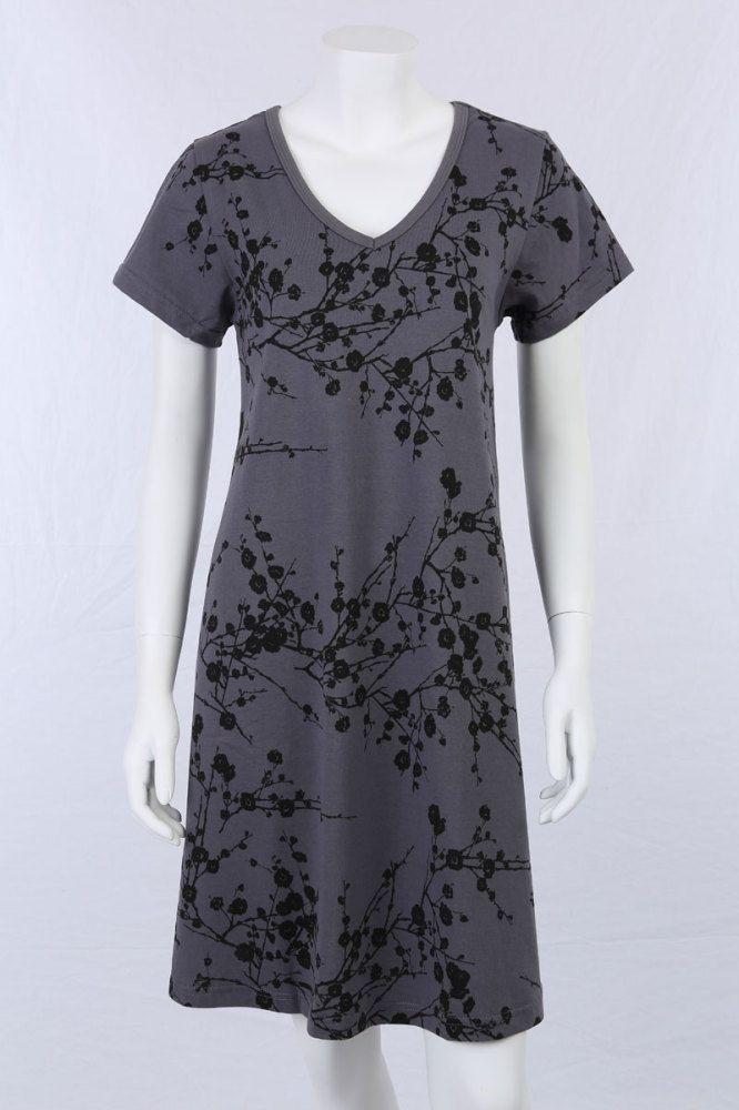 A-kjole, grå med blomster-print.