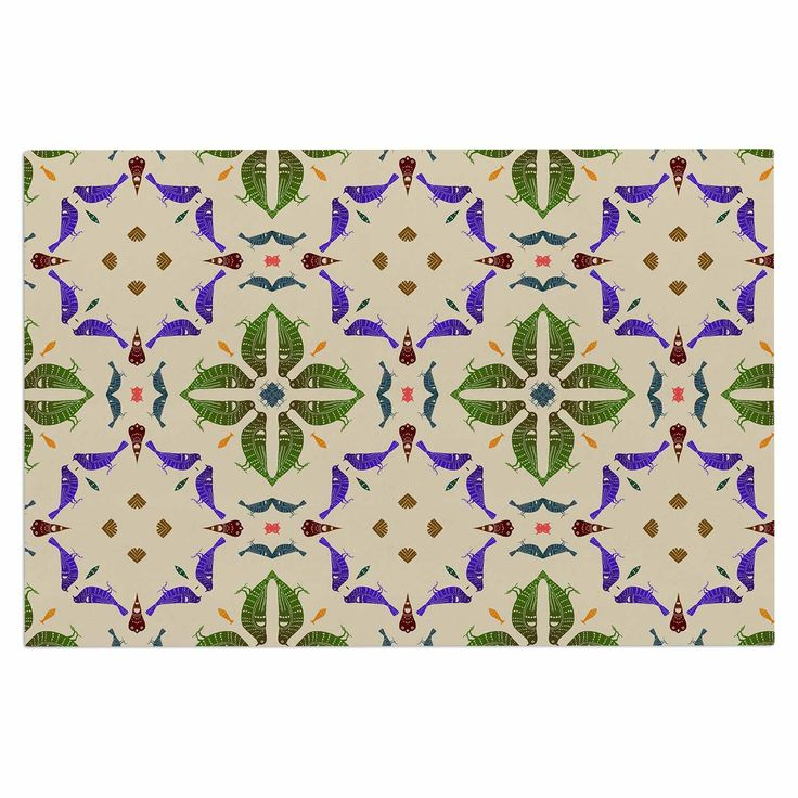 "Laura Nicholson ""Kissing Budgies"" Geometric Beige Decorative Door Mat"