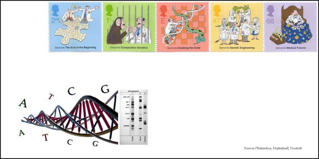 The Secret of Life - Discovery of DNA : 25 Feburary 2003  Prestige Book - Inner Space.  With these five stamps, Royal Mail commemorates the discovery of the DNA double helix by Francis Crick, James Watson in Cambridge in 1953, and the subsequent work on the Human Genome project.