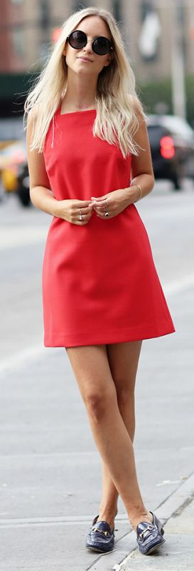 loafers with a dress + Charlotte Groeneveld + dazzling us + gorgeous scarlet num…