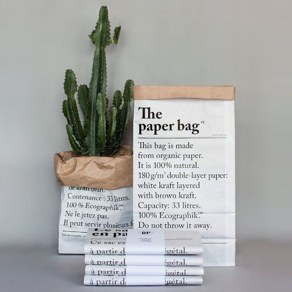 Printed on strong natural kraft paper, The PAPER BAG is a must-have. use as a paper bin or as a storage basket or gift-wrapping  The PAPER BAG is a perfect pres