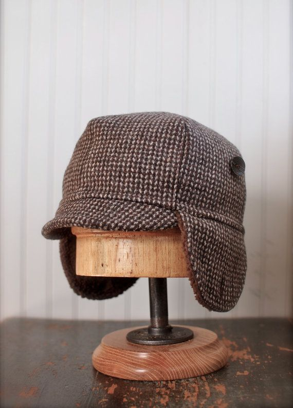 Upcycled brown wool hat with ear flaps mens winter hat by jonboy, $64.00