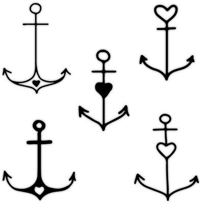 Anchor with Heart Behind-the-ear Tattoo