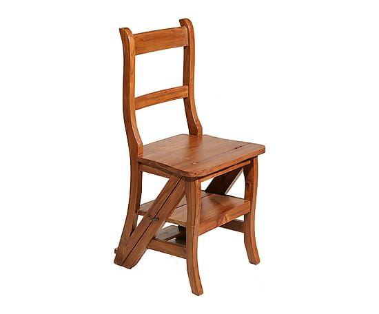 Silla escalera de madera de teca ii proyecto asientos for Silla escalera de madera