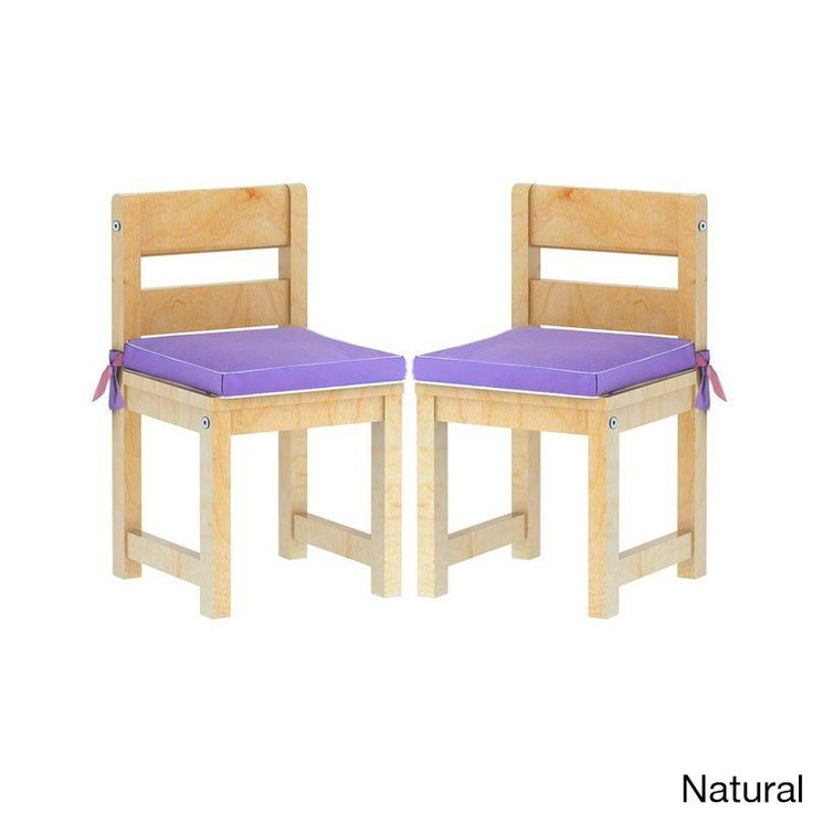 Maxtrix Kids Mates 36 Two Small Chairs with Purple/ Pink Seat Pads (Natural) (Cotton)