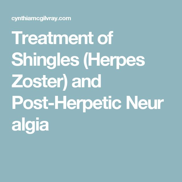 Treatment of Shingles (Herpes Zoster) and Post-Herpetic Neuralgia