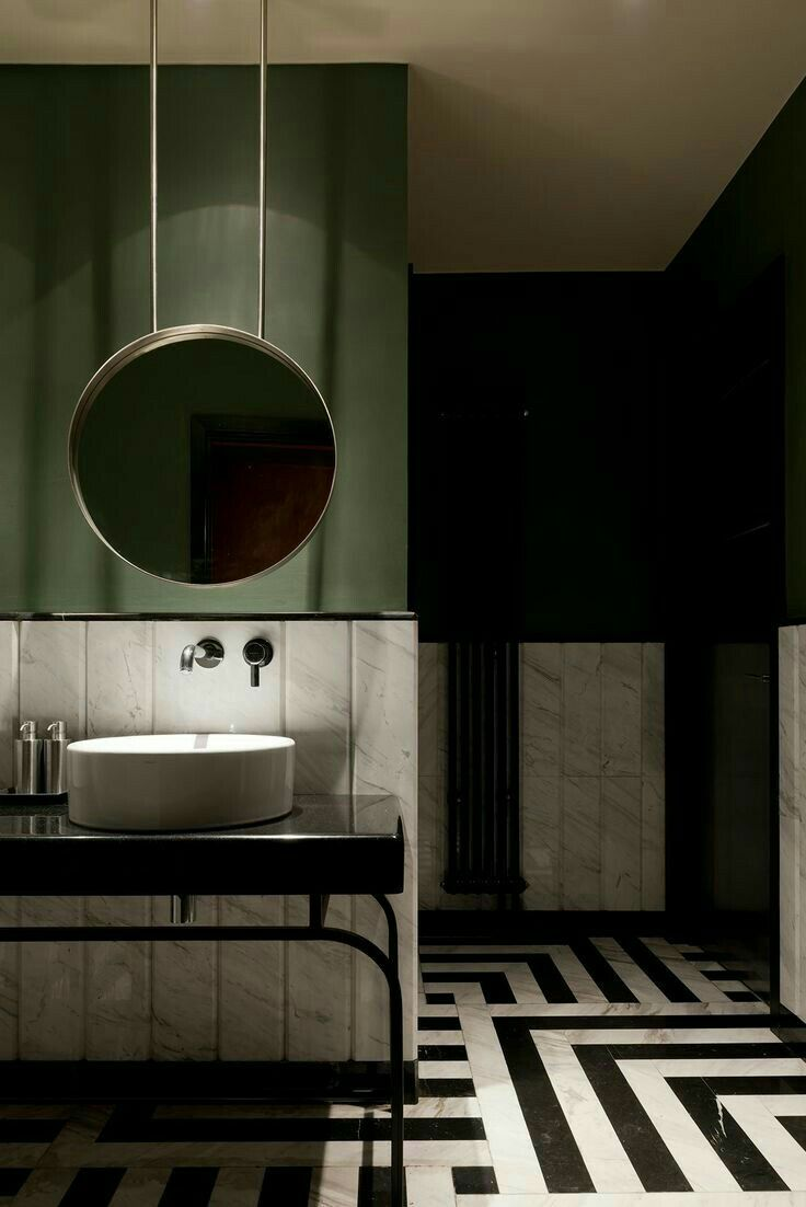 Dark things || Bathroom ideas. Bold colors. Olive Green / Black!