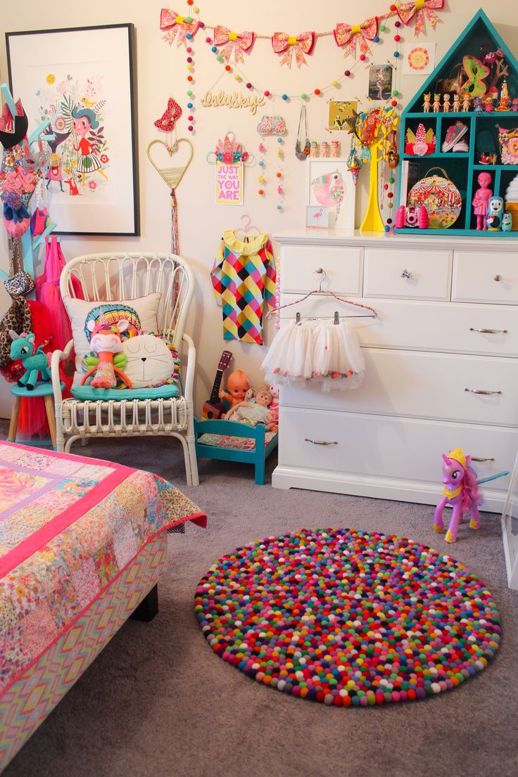 Islas Bedroom / Rainbow Circus Theme / Bright Colours Liberty Print Handmade DIY Kids Decor Interiors / Australian Made / Liberty Bow Garland, Unicorn Doll and Bedding by Rhapsody and Thread, Felt Ball Garland Rug by Little Rosie and Me, Large Fox Print by Helen Dardik, Toucan Print by Laura Blythman, Liberty Cloud Mobile by Little Puddles, Ava Unicorn by Ladedah Kids.