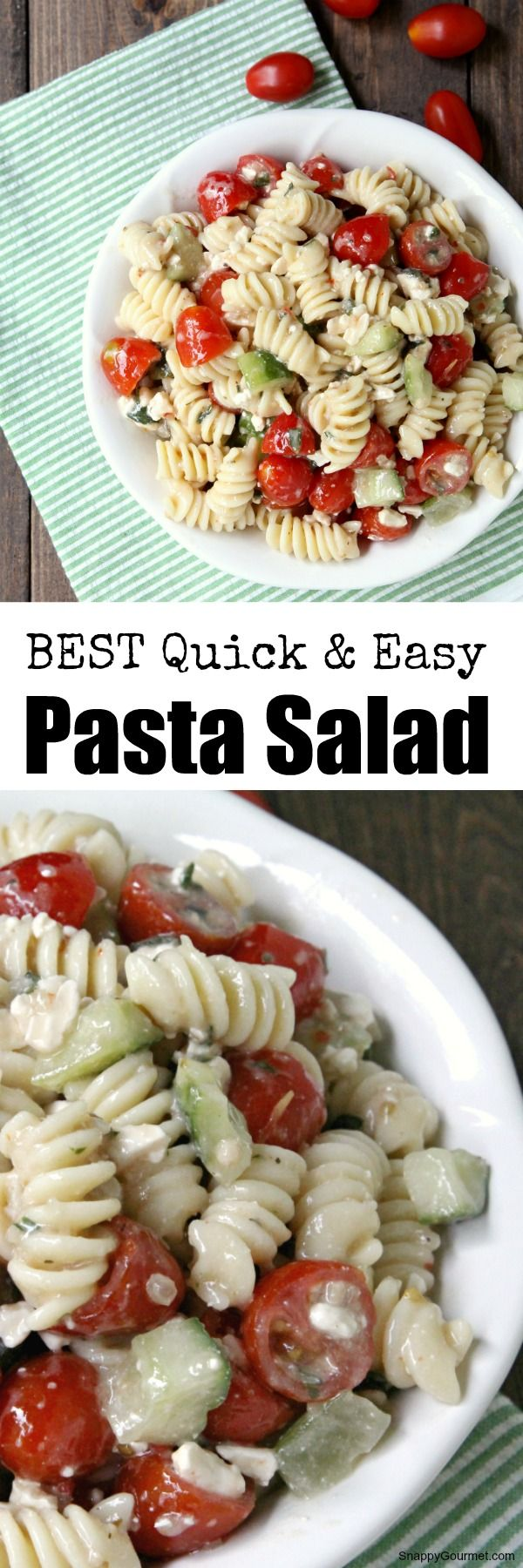 The BEST quick, easy, and simple classic summer cold pasta salad with Italian dressing and veggies! I get SO many requests for this! SnappyGourmet.com