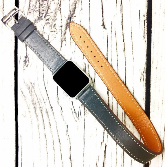 Apple Watch Band Double Wrap Genuine Leather 38mm 42mm  iWatch Strap for Series 1 and Series 2 Grey Tour Bracelet Style for Men and Women