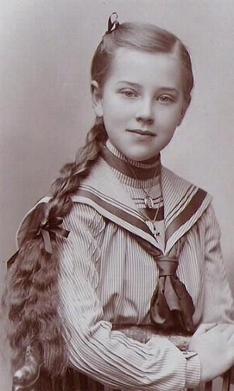+~+~ Antique Photograph ~+~+  Beautiful young girl with a long braid wearing a sailor dress.