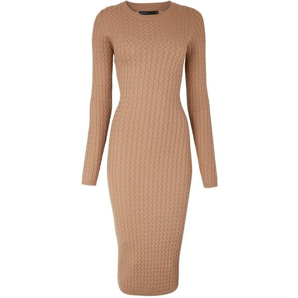 Karen Millen Cable Knitted Bodycon Midi Dress ($92) ❤ liked on Polyvore featuring dresses, camel, beige bodycon dress, camel dress, body conscious dress, cable dress and beige midi dress