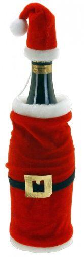 Abrigo y gorro de Papá Noel para botella