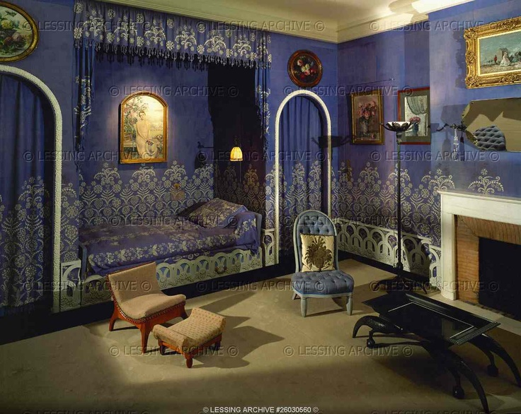 Room in the house of designer Jeanne Lanvin in rue Barbet-de-Jouy in Paris. Interior  decoration of her private room by architect Albert Rateau, ...