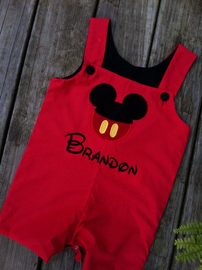 Mickey ears Customized Mickey mouse boy RED outfit button face appliqués by REmiC's, $35.00 USD