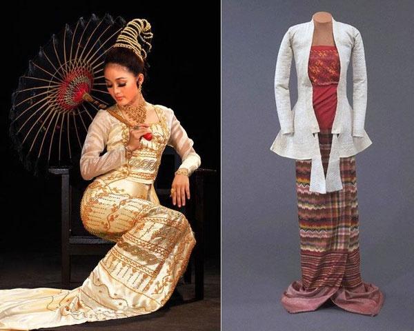 ผู้หญิงพม่าจะใส่เสื้อติดกระดุมหน้าเรียกว่า ยินซี (Yinzi) หรือเสื้อติดกระดุมข้างเรียกว่า ยินบอน (Yinbon) และใส่ผ้าคลุมไหล่ทับ