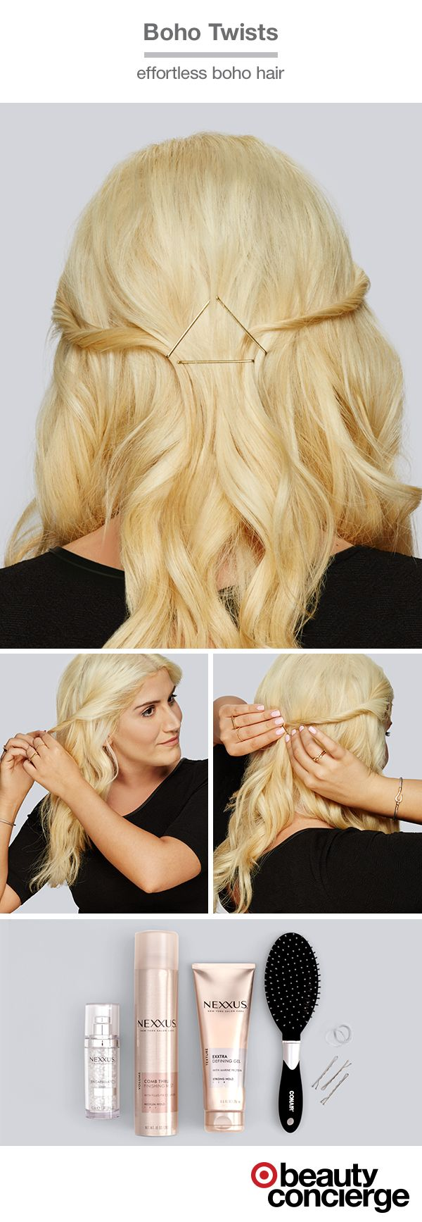 HOW TO: Get a boho-inspired look. Target Beauty Concierge, Neda from Orange County, shows how to create easy boho twists. Start with hair parted down the middle. Then, take a small piece from one side & twist. Fasten with a bobby pin. Repeat twist on the other side & pin. Finish the look by working smoothing serum through the ends.