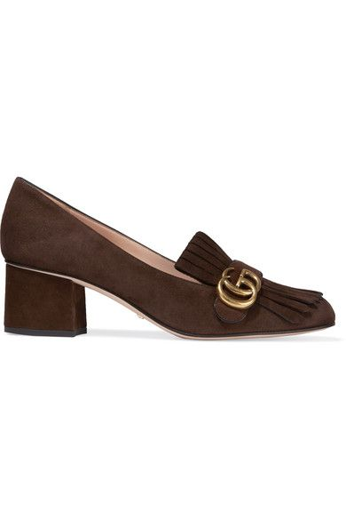 Gucci - Fringed Suede Pumps - Brown - IT38